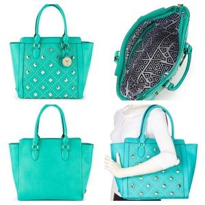 Versace 1969 Veronika Studded Faux Leather Tote
